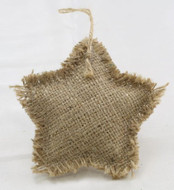 Package of 6 Rustic Natural Star Shaped Burlap Ornament with a Jute Hanger
