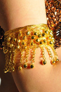 Pearl Belly Dance Exotic Fashion Mesh Arm Cuff with Bells - GOLD