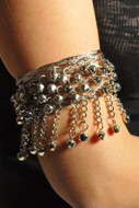 Pearl Belly Dance Exotic Fashion Mesh Arm Cuff with Bells - SILVER