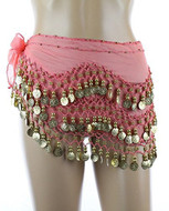 PEARL Belly Dance Hip Scarf - Pink