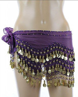 PEARL Belly Dance Hip Scarf, Hip Shakers Belly Dancing Skirt Coin Sash Costume with Gold Coins - Dark Purple