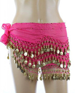 PEARL Belly Dance Hip Scarf, Hip Shakers Belly Dancing Skirt Coin Sash Costume with Gold Coins - Fuchsia