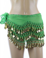 PEARL Belly Dance Hip Scarf, Hip Shakers Belly Dancing Skirt Coin Sash Costume with Gold Coins - Kelly Green