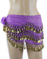 PEARL Belly Dance Hip Scarf, Hip Shakers Belly Dancing Skirt Coin Sash Costume with Gold Coins - Medium Purple