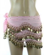 PEARL Belly Dance Hip Scarf, Hip Shakers Belly Dancing Skirt Coin Sash Costume with Gold Coins - Pink