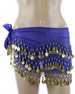 PEARL Belly Dance Hip Scarf, Hip Shakers Belly Dancing Skirt Coin Sash Costume with Gold Coins - Royal Blue