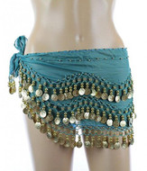 PEARL Belly Dance Hip Scarf, Hip Shakers Belly Dancing Skirt Coin Sash Costume with Gold Coins - Teal Green