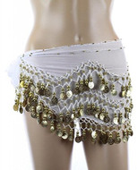PEARL Belly Dance Hip Scarf, Hip Shakers Belly Dancing Skirt Coin Sash Costume with Gold Coins - White