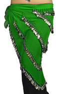 Pearl Belly Dancing 5 Line Triangle Chiffon Hip Scarf With Coins Green
