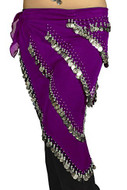 Pearl Belly Dancing 5 Line Triangle Chiffon Hip Scarf With Coins Purple