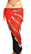 Pearl Belly Dancing 5 Line Triangle Chiffon Hip Scarf With Coins Red
