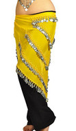 Pearl Belly Dancing 5 Line Triangle Chiffon Hip Scarf With Coins Yellow