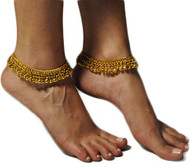 Pearl Pair of Belly Dance Exotic Fashion Bell Anklet - Gold (2pc)