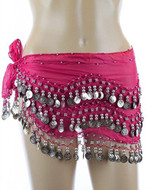 Plus Size XL Chiffon Belly Dance Hip Scarf Wrap Belt Tribal Sash Skirt Silver Coins - Fuchsia