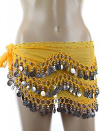 Plus Size XL Chiffon Belly Dance Hip Scarf Wrap Belt Tribal Sash Skirt Silver Coins - Yellow
