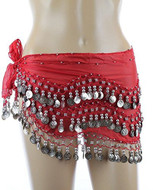Plus Size XL Chiffon Belly Dance Hip Scarf Wrap Belt Tribal Sash Skirt Silver Coins (Red with Silver Coins)