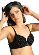 Sequin Beaded Belly Dancing Costume Top Bra - BLACK