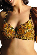 Sequin Beaded Belly Dancing Costume Top Bra - GOLD