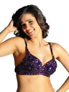 Sequin Beaded Belly Dancing Costume Top Bra - PURPLE