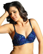 Sequin Beaded Belly Dancing Costume Top Bra - ROYAL BLUE