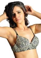Sequin Beaded Belly Dancing Costume Top Bra - SILVER