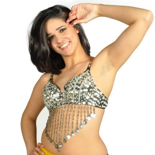 8d584c670 ... Sequin Beaded Belly Dancing Costume Top Bra w Coins - SILVER. Image 1