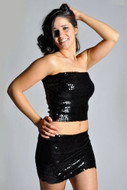 Women's Sexy Sparkly Sequin Tube Top or Mini Skirt - BLACK