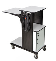 "Black Presentation station, 7 outlet W/ 4"" HD Castors, 41"" height"