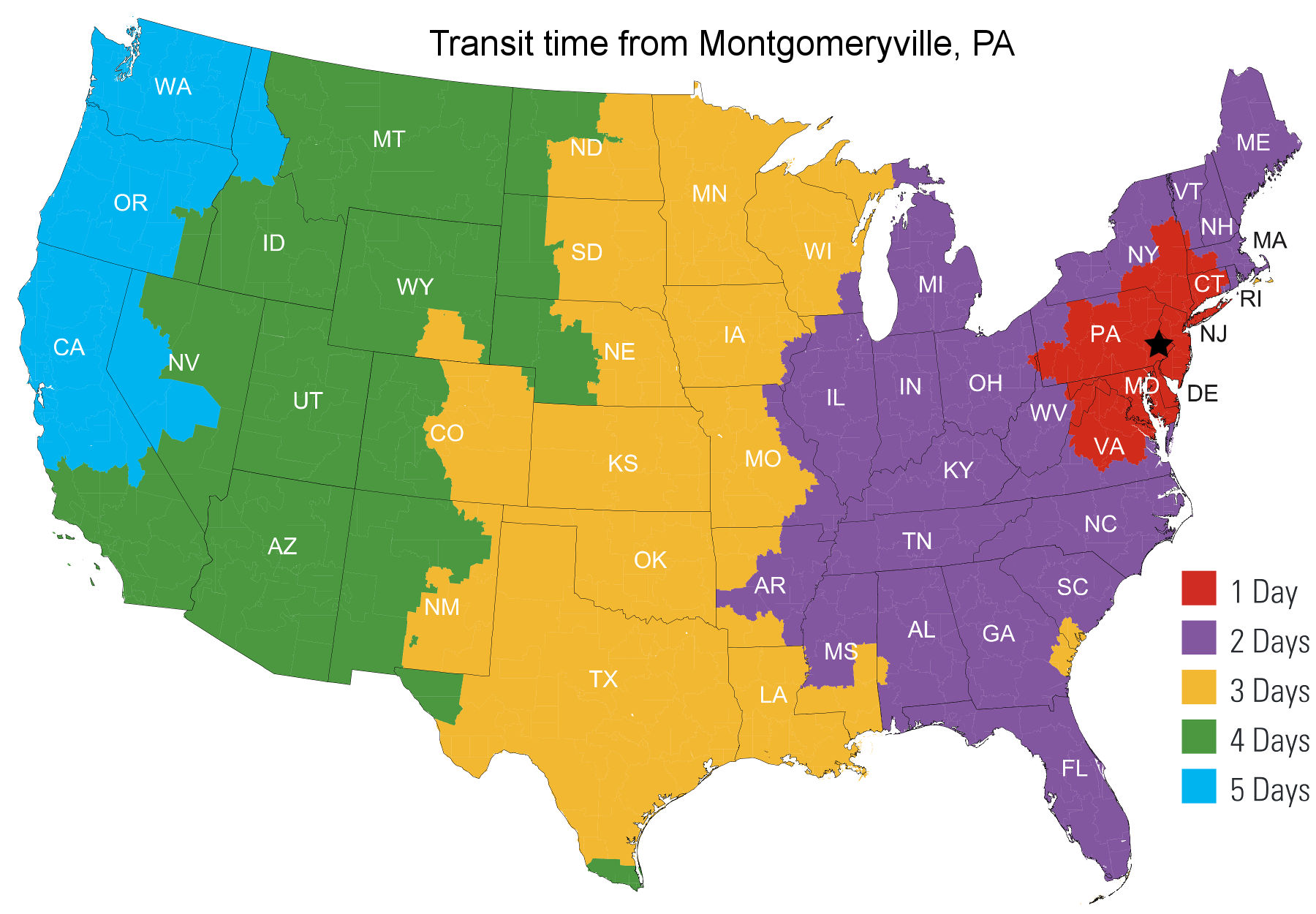Transit time map from Montgomeryville, PA