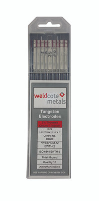 Weldcote Tungsten 1/16x7 2% Thoriated 10Pk