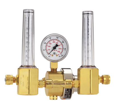 Smith Regulator Flowmeter Argon-CO2 CGA 580 Dual Tubes, 33A-50-580
