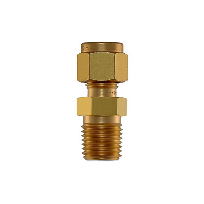 """Connector, 1/4"""" Compression by 1/4"""" MNPT, Brass"""