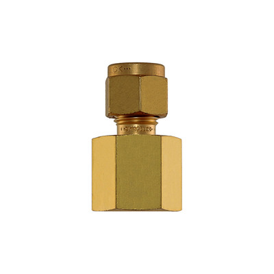 """Connector, 1/4"""" Compression by 1/4"""" FNPT, Brass"""
