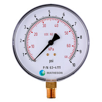 Low Pressure, Large Dial Gauge (Brass)