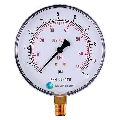 Low Pressure, Large Dial Gauge (Brass)