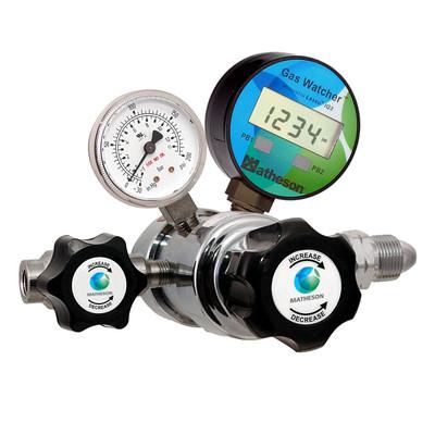 1250W Series Gas Watcher Dual-Stage Medium-Purity Regulator - Brass