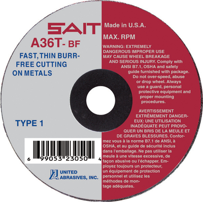 UAI Cutoff Wheel 3x1/16x3/8 TY1 Metal  - 23040
