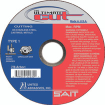 UAI Cutoff Wheel 4-1/2x.045x7x8 TY1 Ultimate Cut - 22230