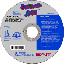 UAI Cutoff Wheel 6x.045x7/8 TY1 Stainless Saitech  - 23182