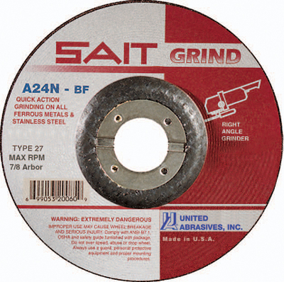 UAI Grinding Wheel 6x1/4x7/8 TY27 Metal  - 20078