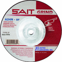 UAI Grinding Wheel 4-1/2x1/4x5/8-11 TY27 Metal  - 20160