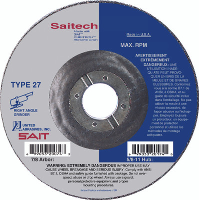 UAI Grinding Wheel 4-1/2x1/4x7/8 TY27 Stainless Attacker - 20046