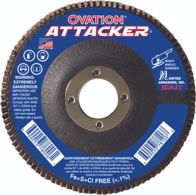 UAI Flap Disc 4-1/2x7/8 40GR TY27 High Density Ovation Attacker - 76206