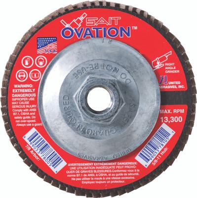 UAI Flap Disc 4-1/2x5/8-11 40GR TY27 High Density Ovation  - 78106