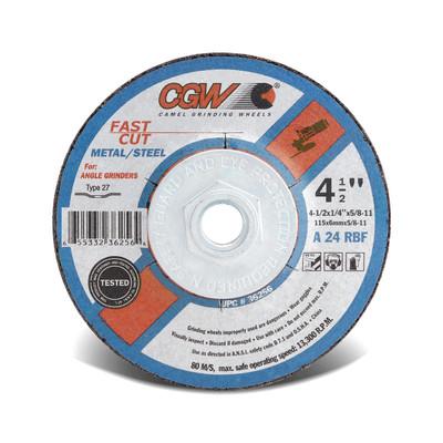 CGW Grinding Wheel 4-1/2x1/4x7/8 A24-R-BF Steel TY27 - 36255