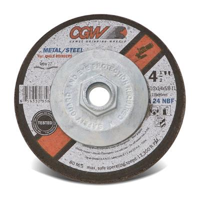 CGW Grinding Wheel 4-1/2x1/4x7/8 A24-N-BF Steel TY27 Fast Cut - 35622