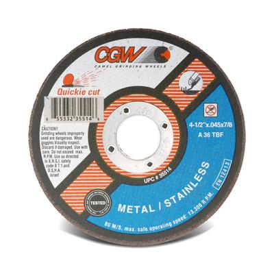 CGW Cutoff Wheel 4-1/2x.045x7/8 TY1 ZA36-T-BF Quickie - 35514