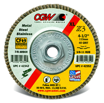 CGW Flap Disc 4-1/2x5/8-11 T27 Z3 Reg 60 Grit Zirconia - 42314