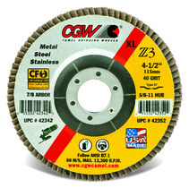 CGW Flap Disc 4-1/2x7/8  T27 Z3 XL 40 Grit Zirconia - 42342