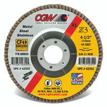 CGW Flap Disc 4-1/2x7/8  T27 Z3 XL 80 Grit Zirconia - 42345